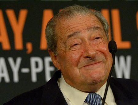 Jan 19, 2016; Beverly Hills, CA, USA; Boxing promoter Bob Arum speaks to the media during a press conference at the Beverly Hills Hotel to announce the upcoming Manny Pacquiao vs Timothy Bradley, Jr boxing fight April 9, 2016 in Las Vegas, Nevada. Mandatory Credit: Jayne Kamin-Oncea-USA TODAY Sports/File Photo