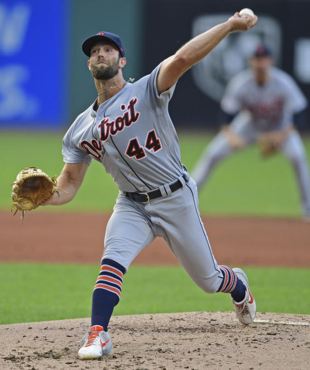 Detroit Tigers tarting pitcher Daniel Norris delivers in the first inning of a baseball game against the Cleveland Indians, Monday, July 15, 2019, in Cleveland. (AP Photo/David Dermer)