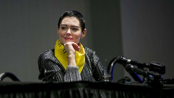 PHOTO: Rose McGowan listens during a workshop at the Women's Convention in Detroit, Mich., Oct. 27, 2017. (Anthony Lanzilote/Bloomberg via Getty Images)