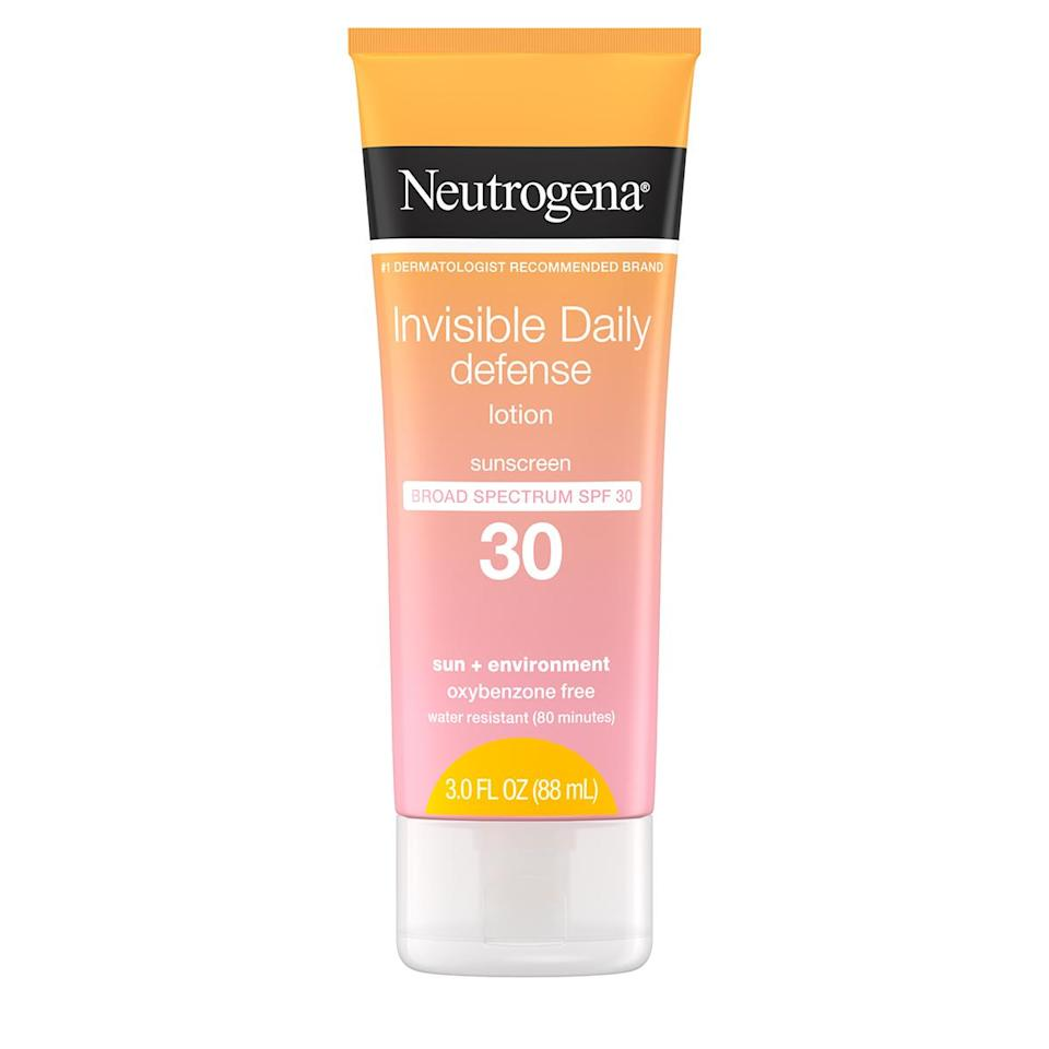 """<p>The lightweight formula absorbs quickly and is sweat-resistant.</p> <p><strong>Buy It!</strong> Neutrogena Invisible Daily Defense SPF 30, $17.50; <a href=""""https://www.neutrogena.com/products/sun/invisible-daily-defense-sunscreen-lotion-spf-30/6811158.html"""" rel=""""sponsored noopener"""" target=""""_blank"""" data-ylk=""""slk:neutrogena.com"""" class=""""link rapid-noclick-resp"""">neutrogena.com</a></p>"""