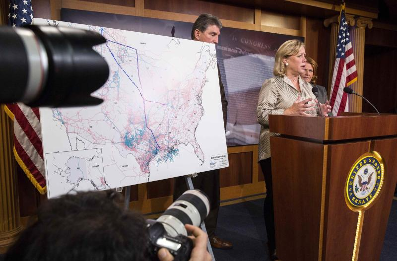 U.S.Senator Mary Landrieu (D-LA) speaks after the vote on the Keystone XL pipeline failed to pass the Senate