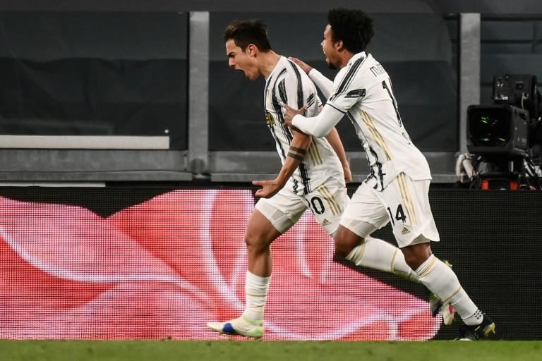 Juve forward Paulo Dybala (L) scored on his return after three months out injured