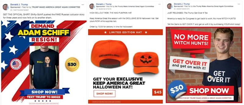 Examples of Trump's campaign merchandise ads