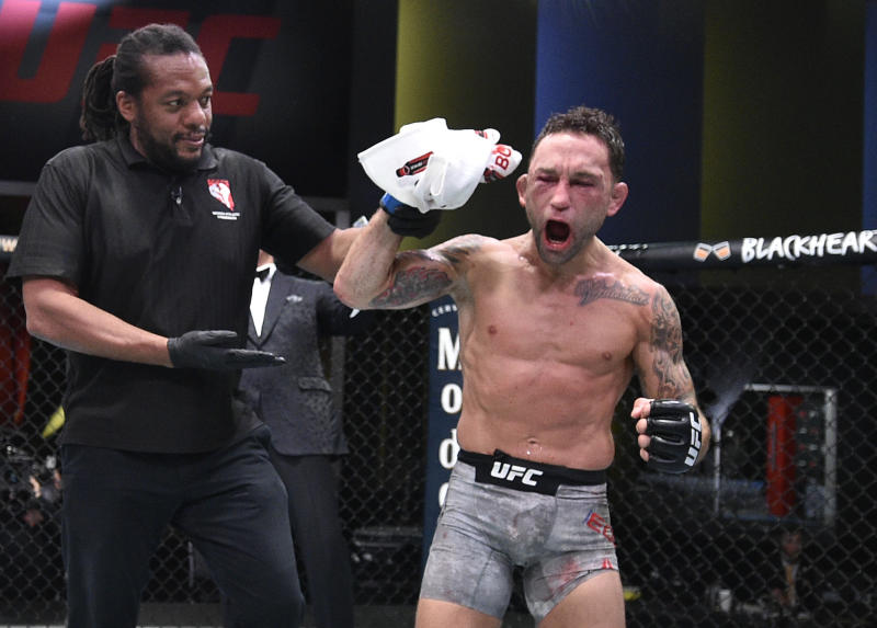 LAS VEGAS, NEVADA - AUGUST 22: Frankie Edgar reacts after his split-decision victory over Pedro Munhoz of Brazil in their bantamweight fight during the UFC Fight Night event at UFC APEX on August 22, 2020 in Las Vegas, Nevada. (Photo by Chris Unger/Zuffa LLC)