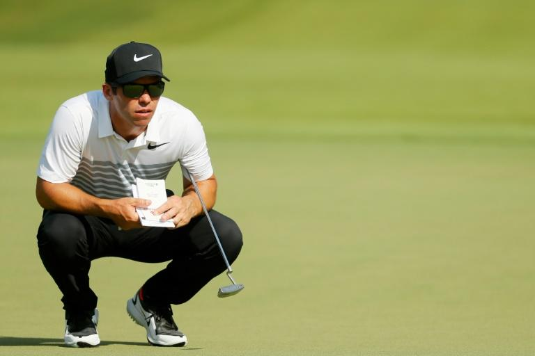 Paul Casey of England lines up a putt on the tenth hole during the second round of the TOUR Championship, at East Lake Golf Club in Atlanta, Georgia, on September 22, 2017