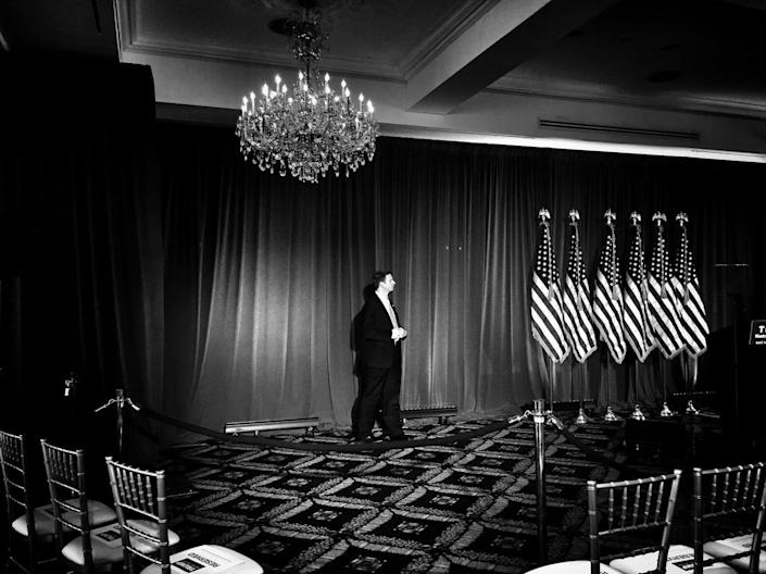 <p>A Secret Service agent guards the podium where Donald Trump was set to speak at an election night rally on June 7 in Briarcliff Manor, N.Y. (Photo: Holly Bailey/Yahoo News) </p>