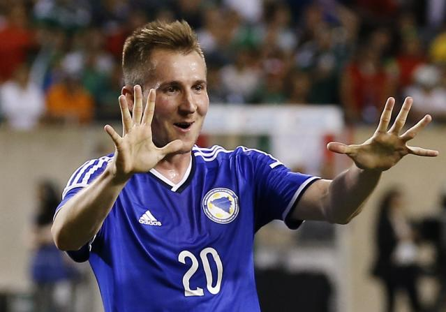 Bosnia and Herzegovina's Hajrovic celebrates his goal during their international friendly soccer match against Mexico in Chicago