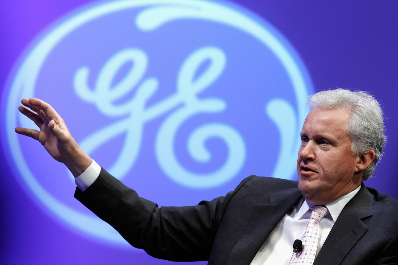 "WASHINGTON, DC - FEBRUARY 13:  GE Chairman and CEO Jeffrey Immelt participates in a discussion on ""The Future of Manufacturing: Growing American Competitiveness""  during GE's four-day event ""American Competitiveness: What Works,"" at the Andrew Mellon Auditorium February 13, 2012 in Washington, DC.  As part of its ""Hire Our Heroes"" program, General Electric Co. says it will hire 5,000 veterans over the next five years and invest $580 million to expand its aviation business.  (Photo by Chip Somodevilla/Getty Images)"