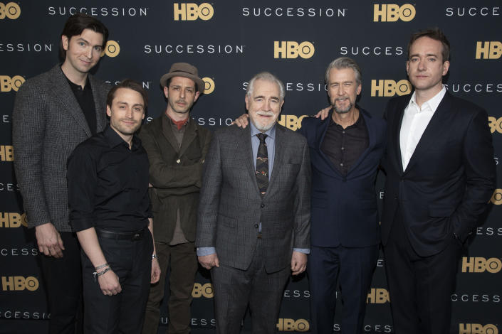 """Nicholas Braun, from left, Kieran Culkin, Jeremy Strong, Brian Cox, Alan Ruck and Matthew Macfadyen attend a special screening of HBO's """"Succession"""" at the Time Warner Center on Wednesday, April 17, 2019, in New York. (Photo by Andy Kropa/Invision/AP)"""
