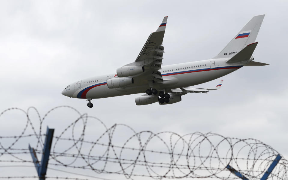 Russian special government plane land at the Vaclav Havel airport in Prague, Czech Republic, Monday, April 19, 2021. Czech Republic is expelling 18 diplomats identified as spies over a 2014 ammunition depot explosion. On Saturday, April 17, 2021, Prime Minister Andrej Babis said the Czech spy agencies provided clear evidence about the involvement of Russian military agents in the massive explosion that killed two people. (AP Photo/Petr David Josek)