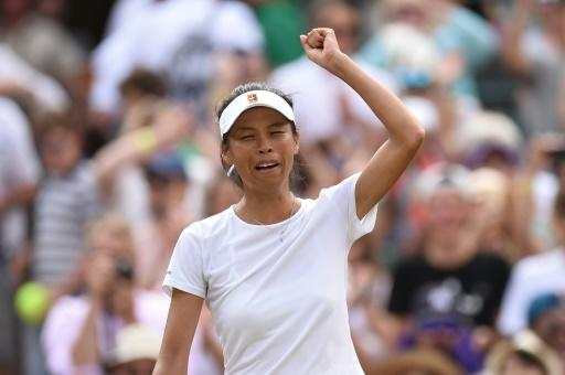 Day to remmeber: Taiwan's Hsieh Su-Wei celebrates beating Simona Halep