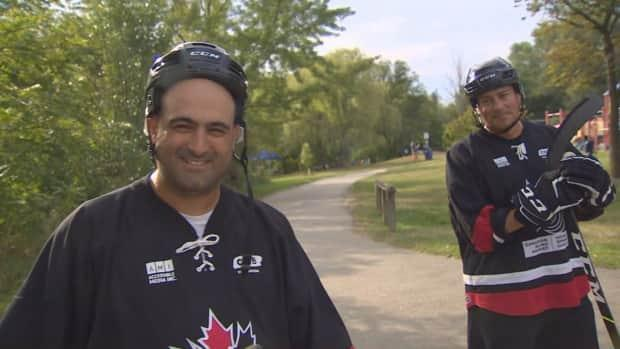Mark DeMontis, left, the founder of Canadian Blind Hockey, and Kelly Serbu, right, the charity's president. (CBC - image credit)