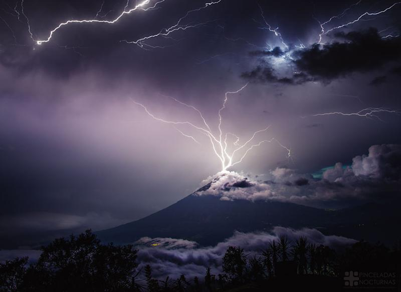 Lightning strikes a volcano in Guatemala (NASA)