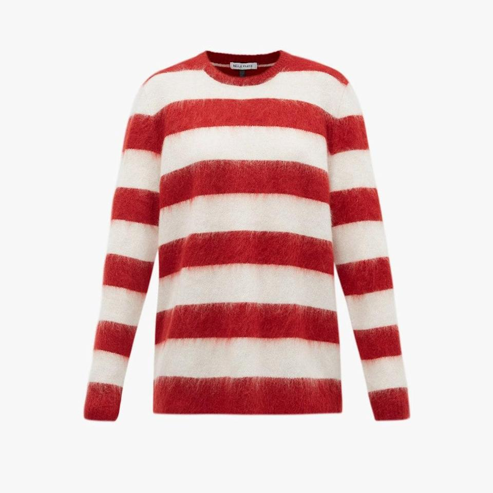 "$379, MATCHESFASHION.COM. <a href=""https://www.matchesfashion.com/us/products/Bella-Freud-Oversized-striped-mohair-blend-sweater-1389044"" rel=""nofollow noopener"" target=""_blank"" data-ylk=""slk:Get it now!"" class=""link rapid-noclick-resp"">Get it now!</a>"