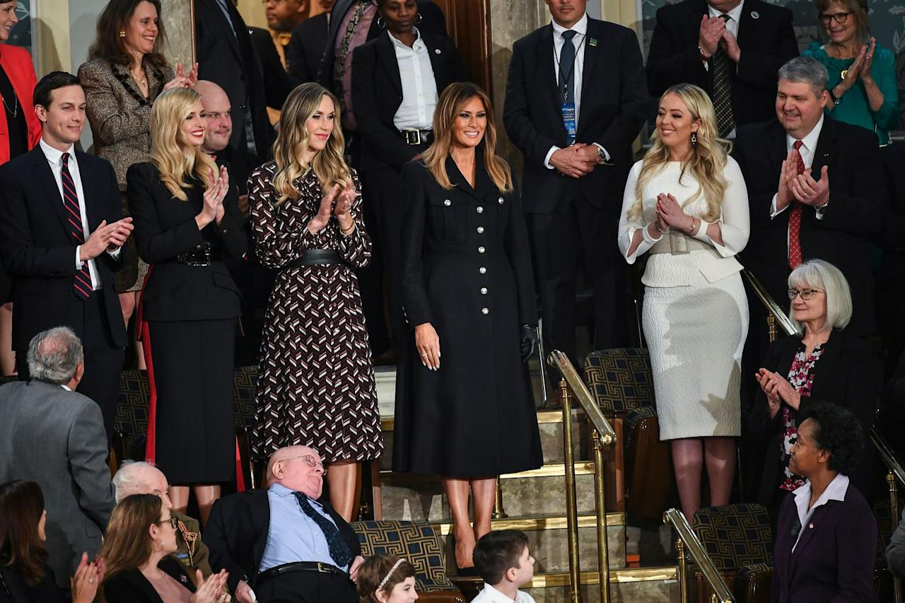 "<p>The First Lady wore a military-inspired <a rel=""nofollow"" href=""https://us.burberry.com/melton-wool-tailored-coat-p80061571?"">black dress by Burberry</a> for President Trump's State of the Union address, a stark contrast to the attending<a rel=""nofollow"" href=""https://www.townandcountrymag.com/society/politics/a26101559/president-trump-state-of-the-union-congresswomen-wear-white/""> congresswomen who chose to wear white</a>. </p><p><a rel=""nofollow"" href=""https://us.burberry.com/melton-wool-tailored-coat-p80061571?"">SHOP NOW</a><em>Melton Wool Tailored Coat, Burberry, $2,390</em></p>"