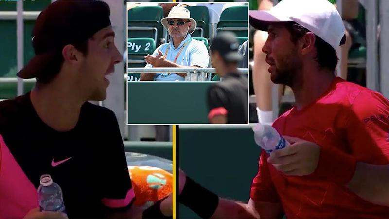 Kokkinakis and Verdasco had a fiery mid-match argument. Pic: Tennis TV/Getty