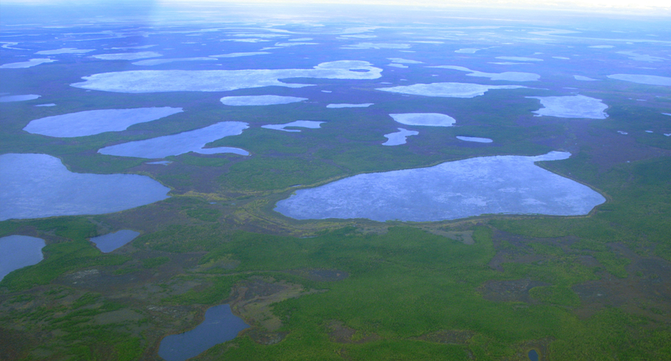 An aerial view of the Siberian permafrost.