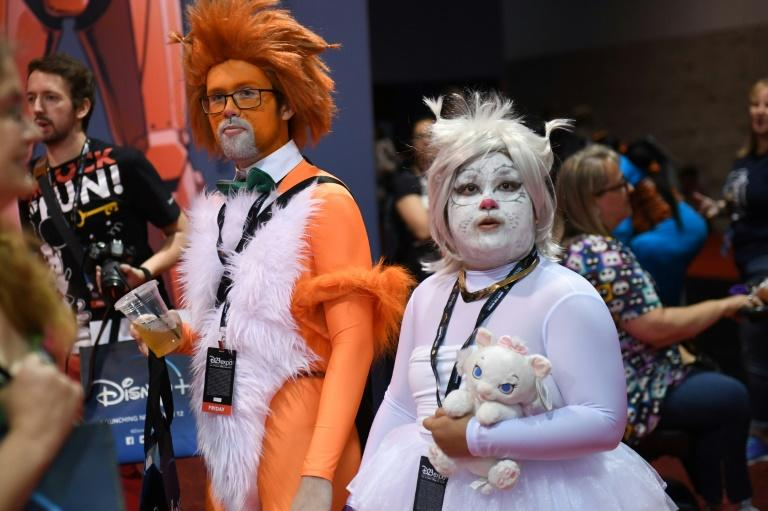 "Cosplayers visit the D23 Expo, billed as the ""largest Disney fan event in the world,"" August 23, 2019 at the Anaheim Convention Center in Anaheim, California"