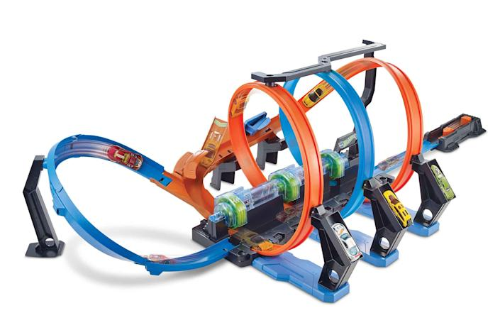 The Hot Wheels Corkscrew Crash Track set will satisfy your kids' need to smash things without making a huge mess.