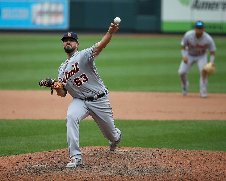 Tigers pitcher Nick Ramirez throws during the sixth inning of the Tigers' 12-2 loss in the first game of a doubleheader on Thursday, Sept. 10, 2020, in St. Louis.