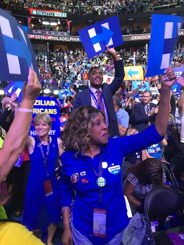 Delegates celebrate on the floor on Tuesday night at the DNC in Philadelphia. (Photo: Tracy Russo)