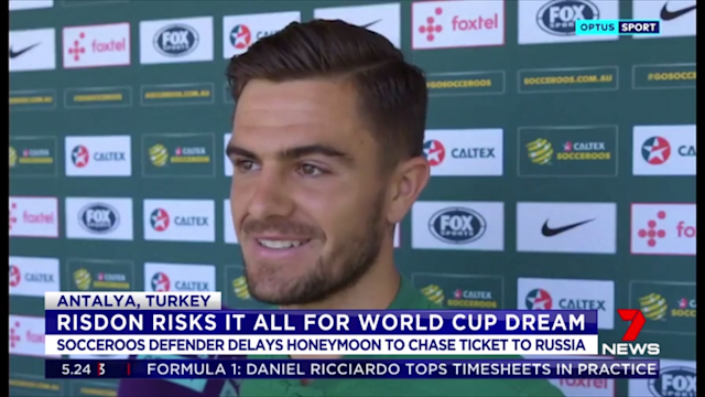 If sacrifice is a selection criteria in the Socceroos' final world cup squad, then Josh Risdon should be on the plane to Russia after he delayed his honeymoon to make it to a training camp.