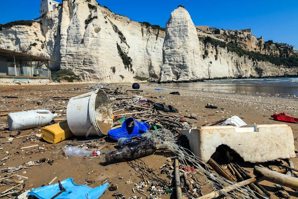 Plastic waste on a beach in Italy. While larger pieces of litter are the most conspicuous, over 90 per cent of the plastics entering the Mediterranean are particles smaller than 5mm (Getty )