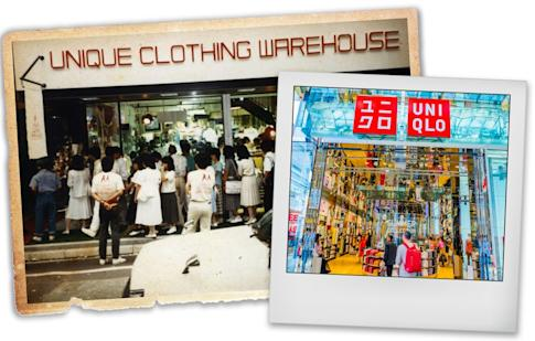 The first Unique Clothing Warehouse (left) opens on June 2, 1984, in the Fukuromachi district of Hiroshima. A Uniqlo store in Osaka, Japan, today (right). Photo: Shutterstock