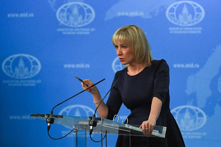"""Russian Foreign Ministry spokeswoman Maria Zakharova has accused Bellingcat of being """"close to the secret services"""" and claimed it """"intentionally pumps out disinformation disguised as investigations"""" (AFP Photo/Yuri KADOBNOV)"""