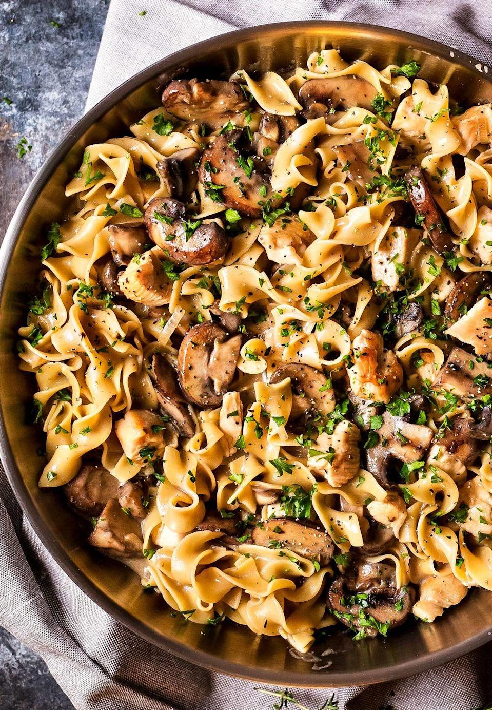 """<p>Everyone will love this classic stroganoff dish that subs the beef for chicken and uses only one dish.</p><p><strong>Get the recipe at <a href=""""https://www.thechunkychef.com/hearty-one-pot-chicken-stroganoff/"""" rel=""""nofollow noopener"""" target=""""_blank"""" data-ylk=""""slk:The Chunky Chef"""" class=""""link rapid-noclick-resp"""">The Chunky Chef</a>.</strong> </p><p><a class=""""link rapid-noclick-resp"""" href=""""https://www.amazon.com/Enameled-Double-Dutch-Oven-5-Quart/dp/B07F2LMPM7/?tag=syn-yahoo-20&ascsubtag=%5Bartid%7C10050.g.4772%5Bsrc%7Cyahoo-us"""" rel=""""nofollow noopener"""" target=""""_blank"""" data-ylk=""""slk:SHOP DUTCH OVENS"""">SHOP DUTCH OVENS</a></p>"""