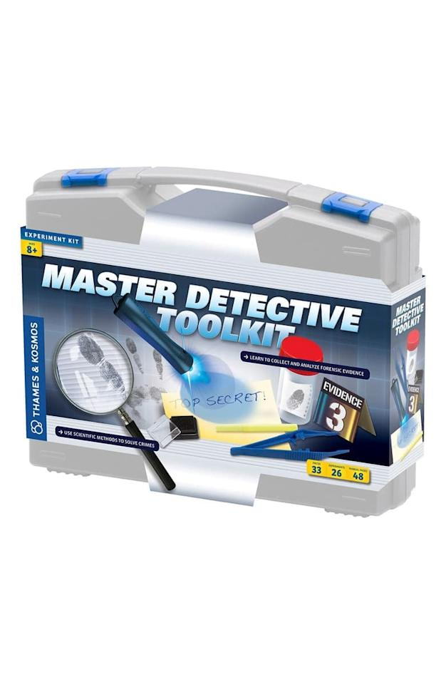 "<p>If you know a kid who loves to solve mysteries, no doubt they need this <a href=""https://www.popsugar.com/buy/Thames-amp-Kosmos-Master-Detective-Toolkit-Experiment-Kit-492673?p_name=Thames%20%26amp%3B%20Kosmos%20Master%20Detective%20Toolkit%20Experiment%20Kit&retailer=shop.nordstrom.com&pid=492673&price=50&evar1=moms%3Aus&evar9=26071651&evar98=https%3A%2F%2Fwww.popsugar.com%2Ffamily%2Fphoto-gallery%2F26071651%2Fimage%2F46654308%2FThames-Kosmos-Master-Detective-Toolkit-Experiment-Kit&list1=holiday%2Cgift%20guide%2Cparenting%20gift%20guide%2Cgifts%20for%20kids%2Ckid%20shopping&prop13=api&pdata=1"" rel=""nofollow"" data-shoppable-link=""1"" target=""_blank"" class=""ga-track"" data-ga-category=""Related"" data-ga-label=""https://shop.nordstrom.com/s/thames-kosmos-master-detective-toolkit-experiment-kit/4218097?origin=category-personalizedsort&amp;breadcrumb=Home%2FHome%20%26%20Gifts%2FGifts%2FGifts%20for%20Kids&amp;color=grey"" data-ga-action=""In-Line Links"">Thames &amp; Kosmos Master Detective Toolkit Experiment Kit</a> ($50).</p>"