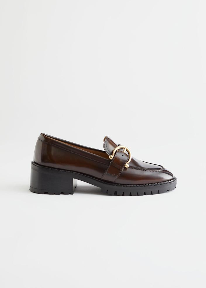 """To wear with your new socks. <br> <br> <strong>& Other Stories</strong> Buckled Leather Heeled Loafers, $, available at <a href=""""https://go.skimresources.com/?id=30283X879131&url=https%3A%2F%2Fwww.stories.com%2Fen_usd%2Fshoes%2Fflats%2Floafers%2Fproduct.buckled-leather-heeled-loafers-brown.0898409001.html"""" rel=""""nofollow noopener"""" target=""""_blank"""" data-ylk=""""slk:& Other Stories"""" class=""""link rapid-noclick-resp"""">& Other Stories</a>"""