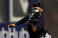 Cleveland Indians right fielder Harold Ramirez catches a fly ball from New York Yankees' Gary Sanchez for an out in the ninth inning of a baseball game, Saturday, Sept. 18, 2021, in New York. (AP Photo/John Minchillo)