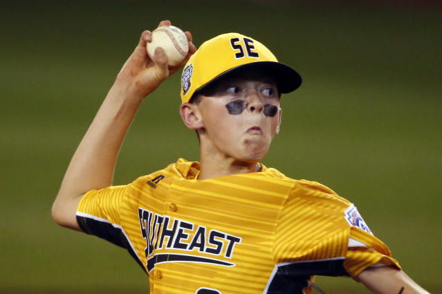 "<a class=""link rapid-noclick-resp"" href=""/mlb/players/9698/"" data-ylk=""slk:Chase Anderson"">Chase Anderson</a> was the starting pitcher as Greenville, N.C. made history with a combined perfect game at the LLWS. (AP)"