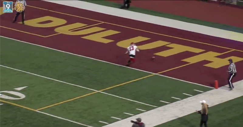 This somehow ended up as a kickoff return touchdown. (via Minnesota-Duluth)