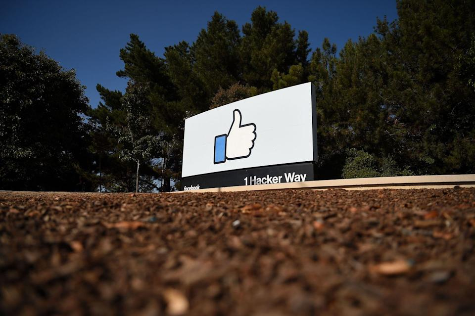 """The Facebook """"like"""" sign is seen at Facebook's corporate headquarters campus in Menlo Park, California, on October 23, 2019: JOSH EDELSON/AFP via Getty Images"""