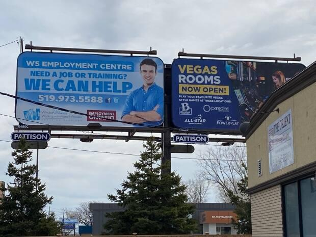 One of the three billboards around Windsor from W5 features a young, white man, which has sparked some debate on whether that image is best suited to the organization's mission statement. (Dan Taekema/CBC - image credit)