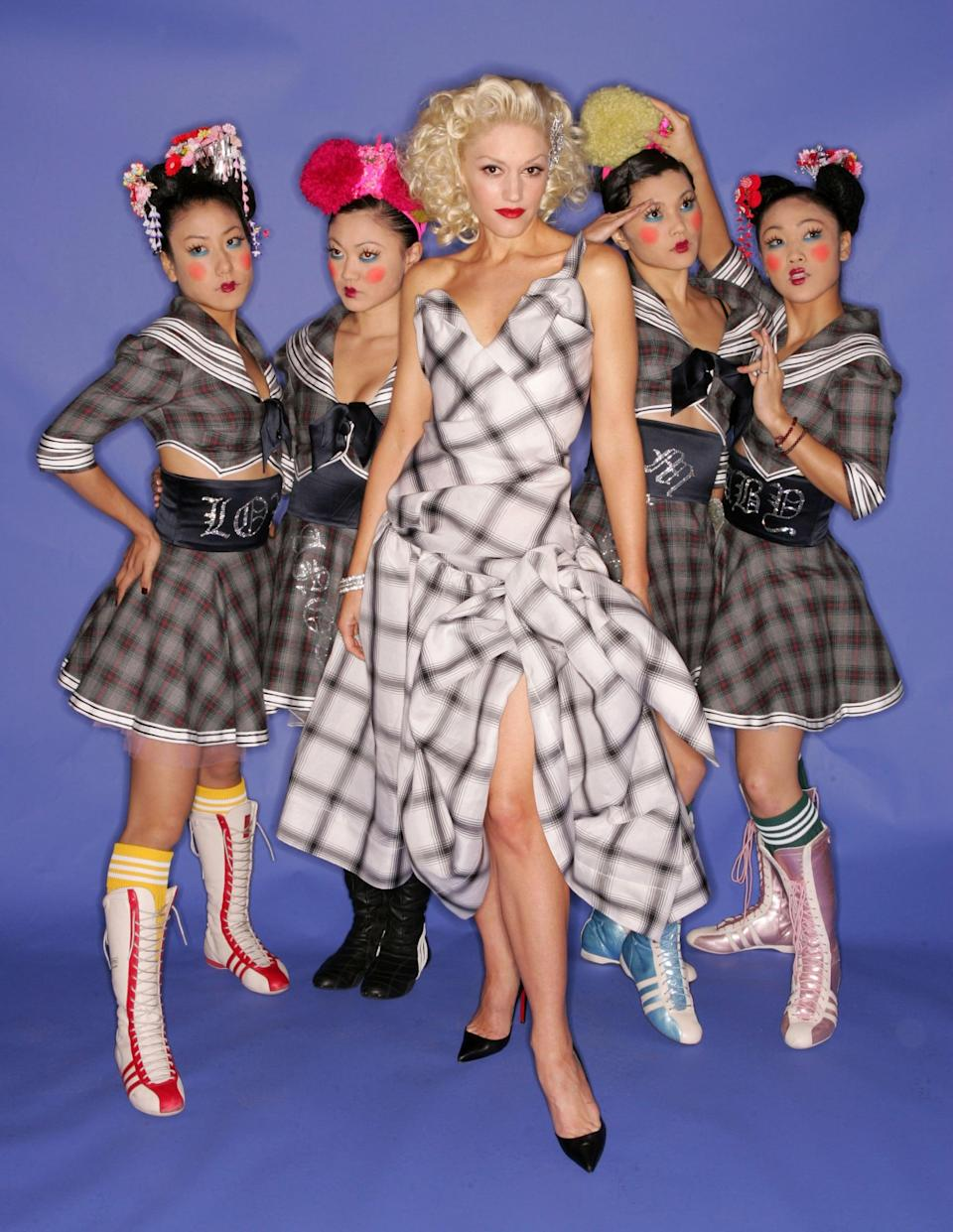 <p>Gwen and her dancers went all out in plaid for the 2004 Billboard Music Awards. Gwen wore Vivienne Westwood, a designer she's no stranger to.</p>