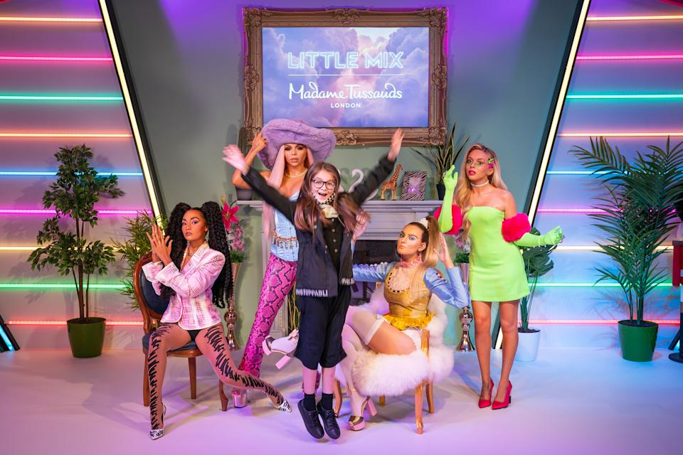 Fans meet wax figures of Little Mix, (left to right) Leigh-Anne Pinnock, Jesy Nelson, Perrie Edwards and Jade Thirlwall, as they are unveiled at Madame Tussauds London. (PA)