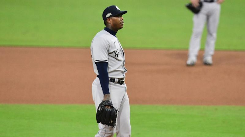 Aroldis Chapman looking defeated after allowing Brosseau home run ALDS Game 5