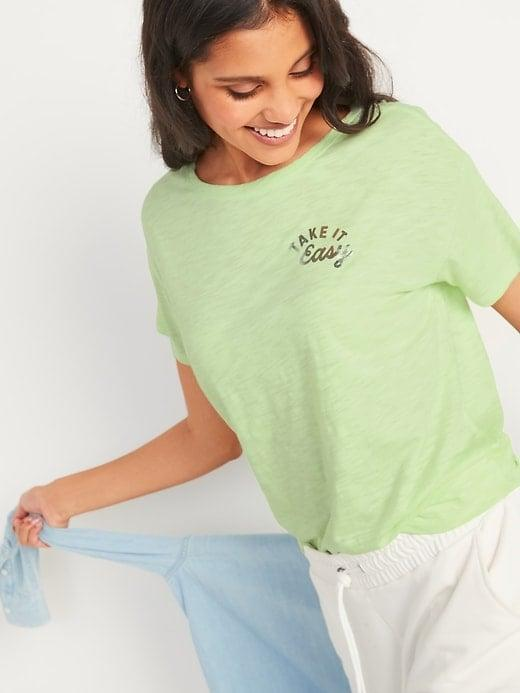 """<p>The sayings on these <span>Old Navy Loose Graphic Easy Short-Sleeve Tees</span> ($15, originally $17) reflect your do-nothing motto, whether you're taking it easy or simply having a """"sweatpants moment.""""</p>"""