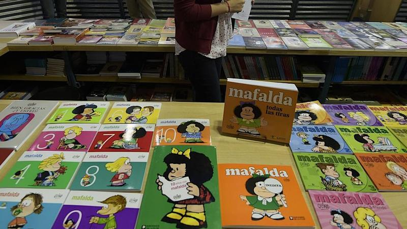"Books of Argentine comic strip ""Mafalda"" are displayed during the opening day of the 41th edition of the Buenos Aires International Book Fair, on April 23, 2015."