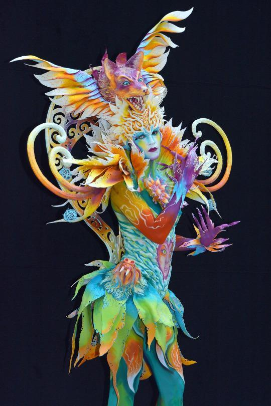 <p>This elaborate bodypainting was designed by Italian artist Benedetta Carugati. (Source: Didier Messens/Redferns via Getty Images)</p>