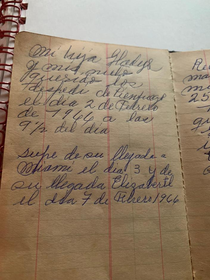 My great grandfather writes about the news of his daughter and her family leaving Cuba and noting their departure from Cienfuegos in 1966 and their safe arrival in Miami and then Elizabeth, New Jersey a few days later.
