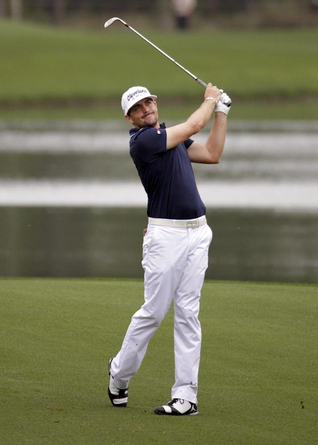 Keegan Bradley takes a shot on the sixth hole during the first round of the Houston Open golf tournament on Thursday, April 3, 2014, in Humble Texas. (AP Photo/Patric Schneider)
