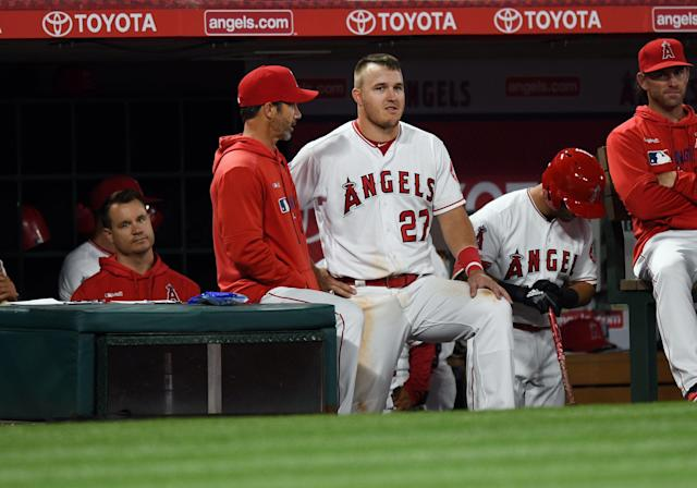 Trout left Tuesday's game against the Brewers after suffering an injury on the basepaths. (Photo by John Cordes/Icon Sportswire via Getty Images)