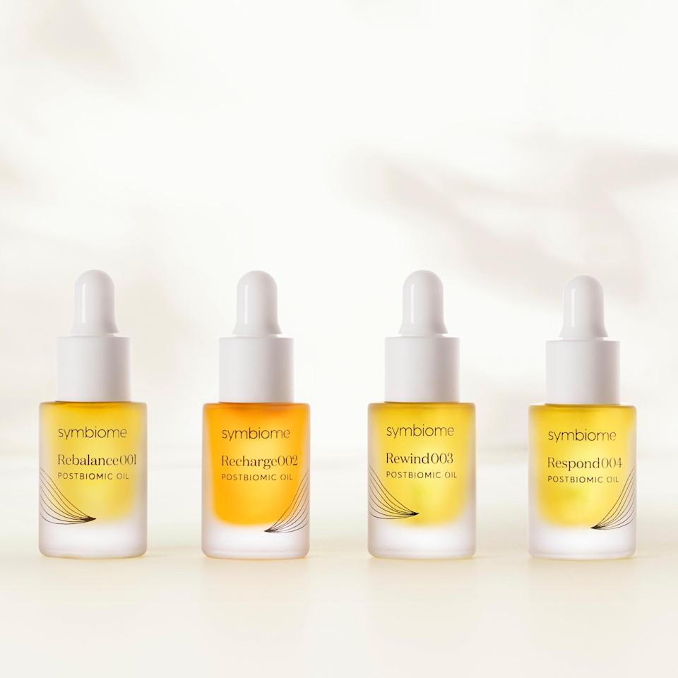 """<p>Give the gift of healthy, hydrated skin with The Discovery by Symbiome. The four-piece set features the clean, science-based skin-care brand's new facial oils — Rebalance001, Recharge002, Rewind003, and Respond004 — which are jam-packed with nourishing postbiomic oils and antioxidants to deeply moisturize and bolster the skin barrier. Pick one for yourself or gift them all — glowing skin awaits.</p> <p><strong>$75 (</strong><a href=""""https://www.symbiome.com/products/the-discovery?&utm_source=allure&utm_medium=press&utm_campaign=gift_guide_2020&utm_content=discovery"""" rel=""""nofollow noopener"""" target=""""_blank"""" data-ylk=""""slk:Shop Now"""" class=""""link rapid-noclick-resp""""><strong>Shop Now</strong></a><strong>)</strong> </p>"""