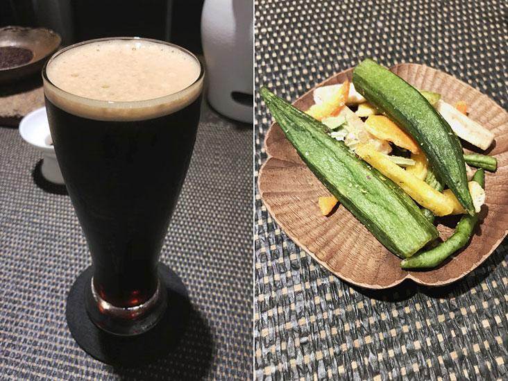 Nitro Lemongrass Black Tea (left) and some snacks to nibble on between sips (right)