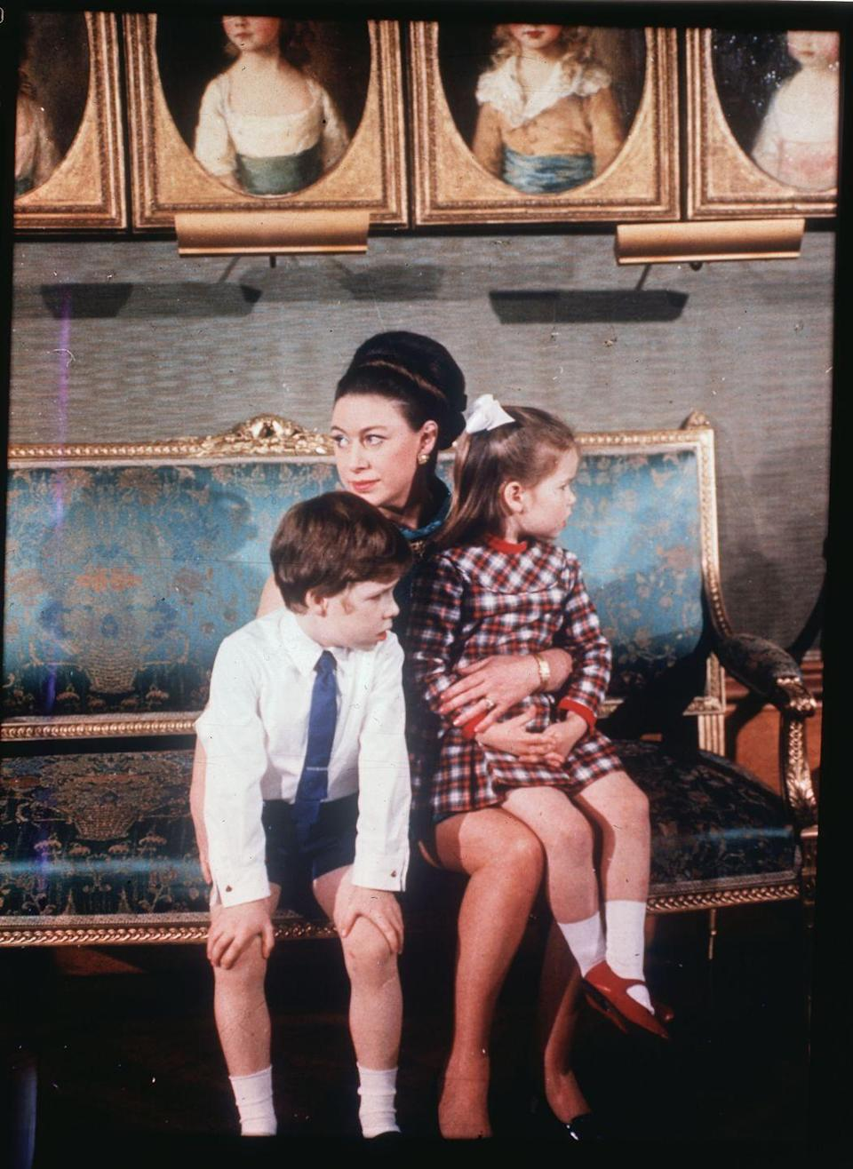 "<p>Princess Margaret with David and Sarah during the filming of <a href=""https://www.oprahmag.com/entertainment/tv-movies/a29831109/royal-family-documentary-1969/"" rel=""nofollow noopener"" target=""_blank"" data-ylk=""slk:the BBC documentary, Royal Family."" class=""link rapid-noclick-resp"">the BBC documentary, <em>Royal Family. </em></a></p>"