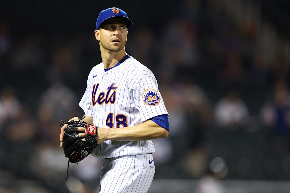 NEW YORK, NEW YORK - APRIL 28: Jacob deGrom #48 of the New York Mets walks back t the dugout after the third out of the top of the sixth inning against the Boston Red Sox at Citi Field on April 28, 2021 in New York City. (Photo by Mike Stobe/Getty Images)